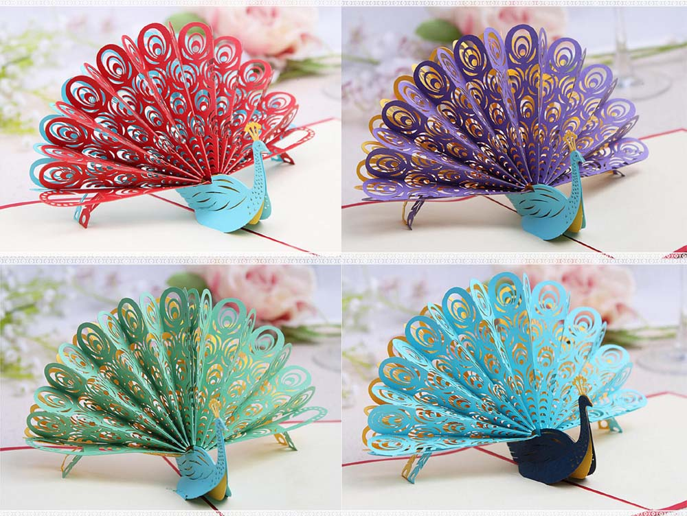 10pcs 3d peacock handmade kirigami origami wedding party