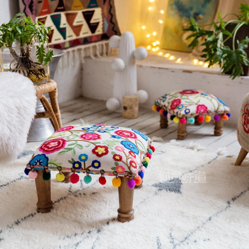 India imported cotton three-dimensional embroidery Bohemian Southeast Asia Nordic home soft seat wooden stool low stool rapprochement between east coast of india and southeast asia