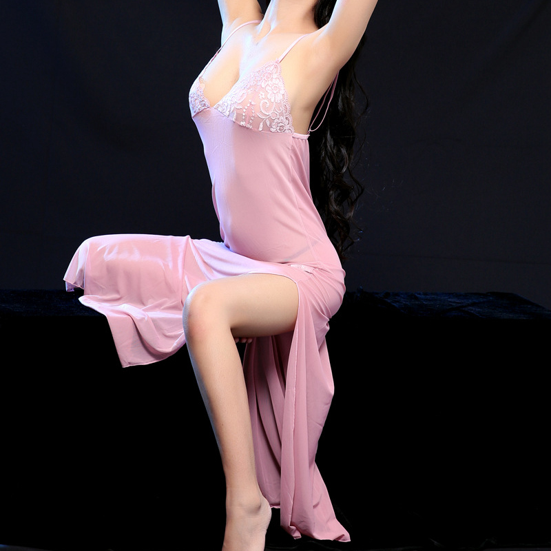 Sexy Sleepshirts See Through Long Nightdress Ladies Sleepwear Lingerie Lace Clothes Lingerie Nightgown Nighties For Women