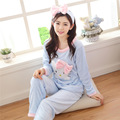 2016 Spring Winter Anti Cold Keep Warm Women Coral Fleece Pajamas Sets of Sleepcoat & Trousers Lady Thermal Flannel Sleepwear