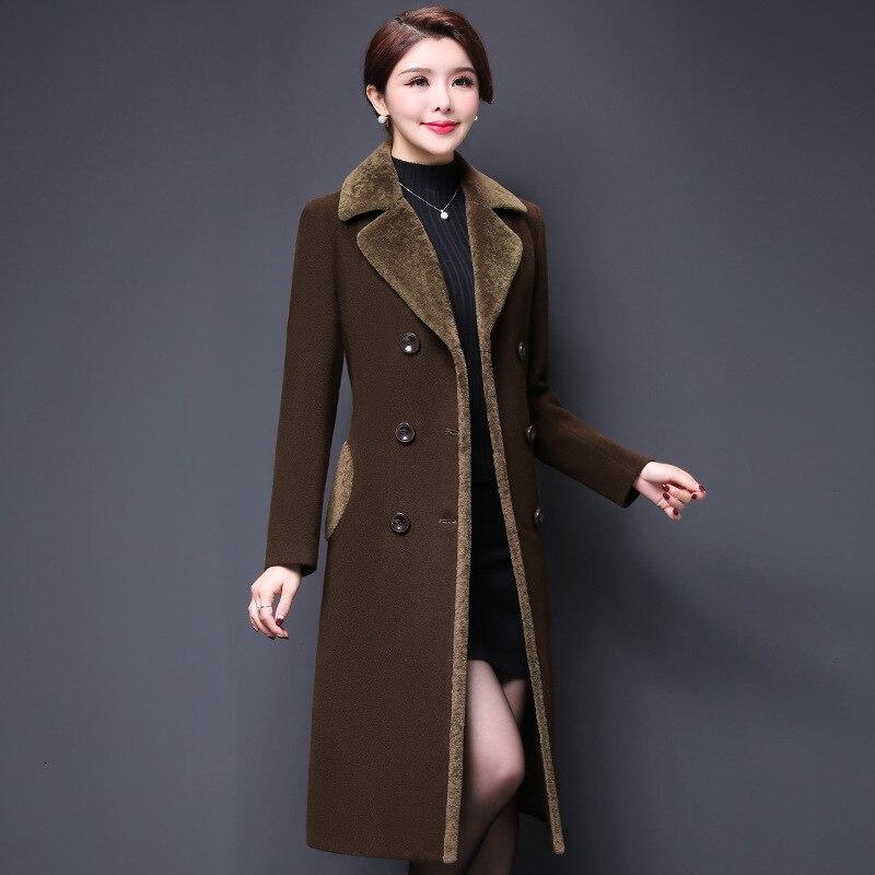 De Laine Hiver Mode Mince Longues coffee Cw191 Long Taille Automne Chaud Nouveau Femmes À Manches Grande Purple Veste Manteau Épais Solide 2018 Manteaux EqFXIx