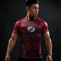 Compression Shirt Flash 3D Printed T Shirts Men Raglan Short Sleeve Flash Cosplay Costume Quick Dry