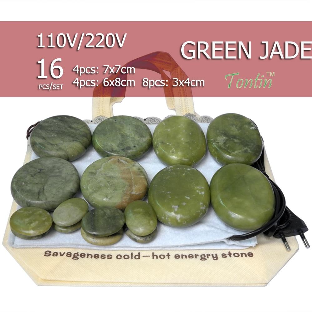 16pcs set Natural Energy massage stone set hot spa rock green jade stone 16pcs with heater
