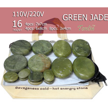 16pcs/set Natural Energy massage stone set hot spa rock green jade 16pcs with heater bag