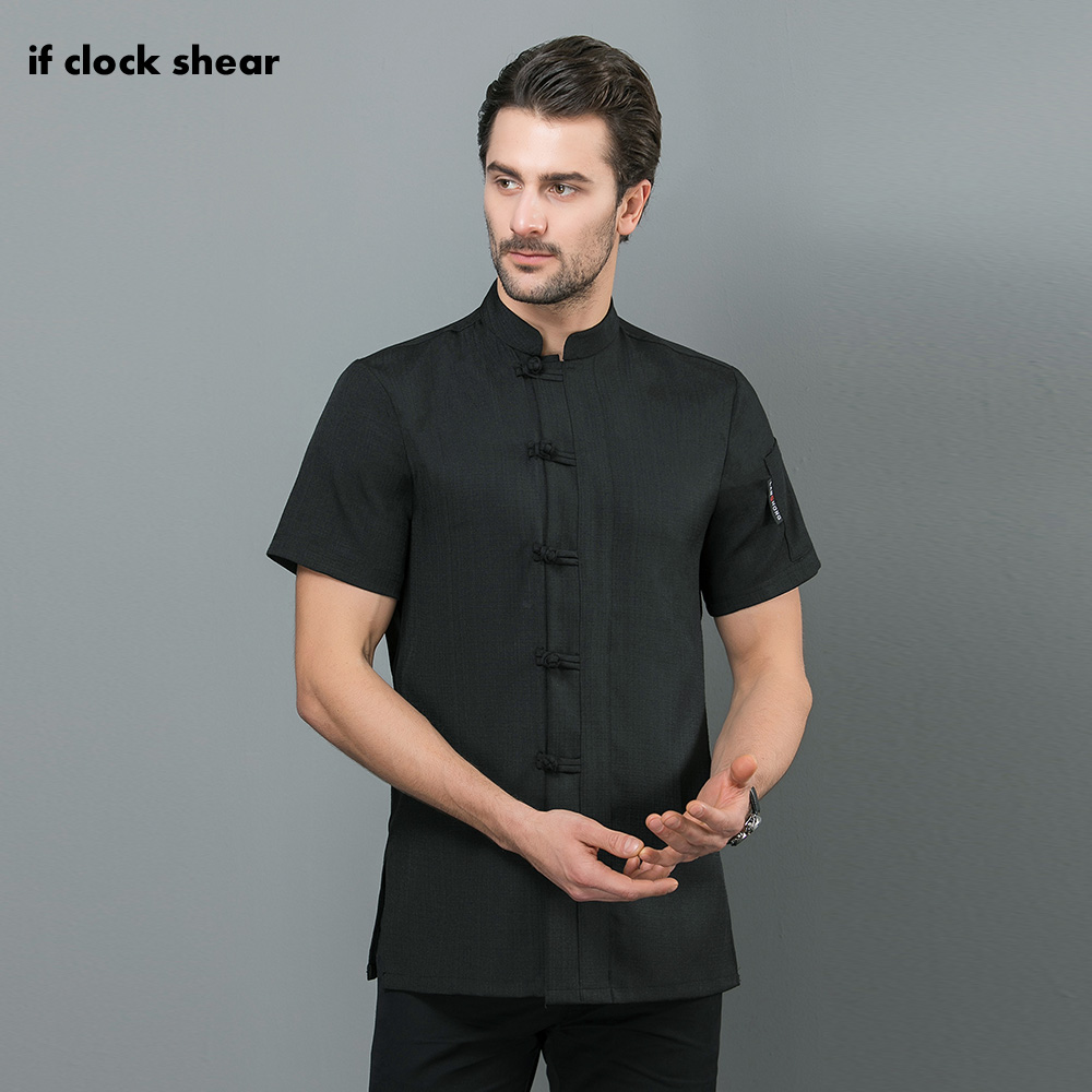 Chinese-style Food Service Chef Jacket Restaurant Uniform Black And White Short Sleeved Hotel Kitchen Work Clothes Men New M-4XL