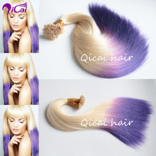 Colorful Ombre Blonde Purple Pre Bonded Keratin Hair Extension Flat Tip Fashion Hair 100 Pcs 1G Each Strands Human Remy Hair