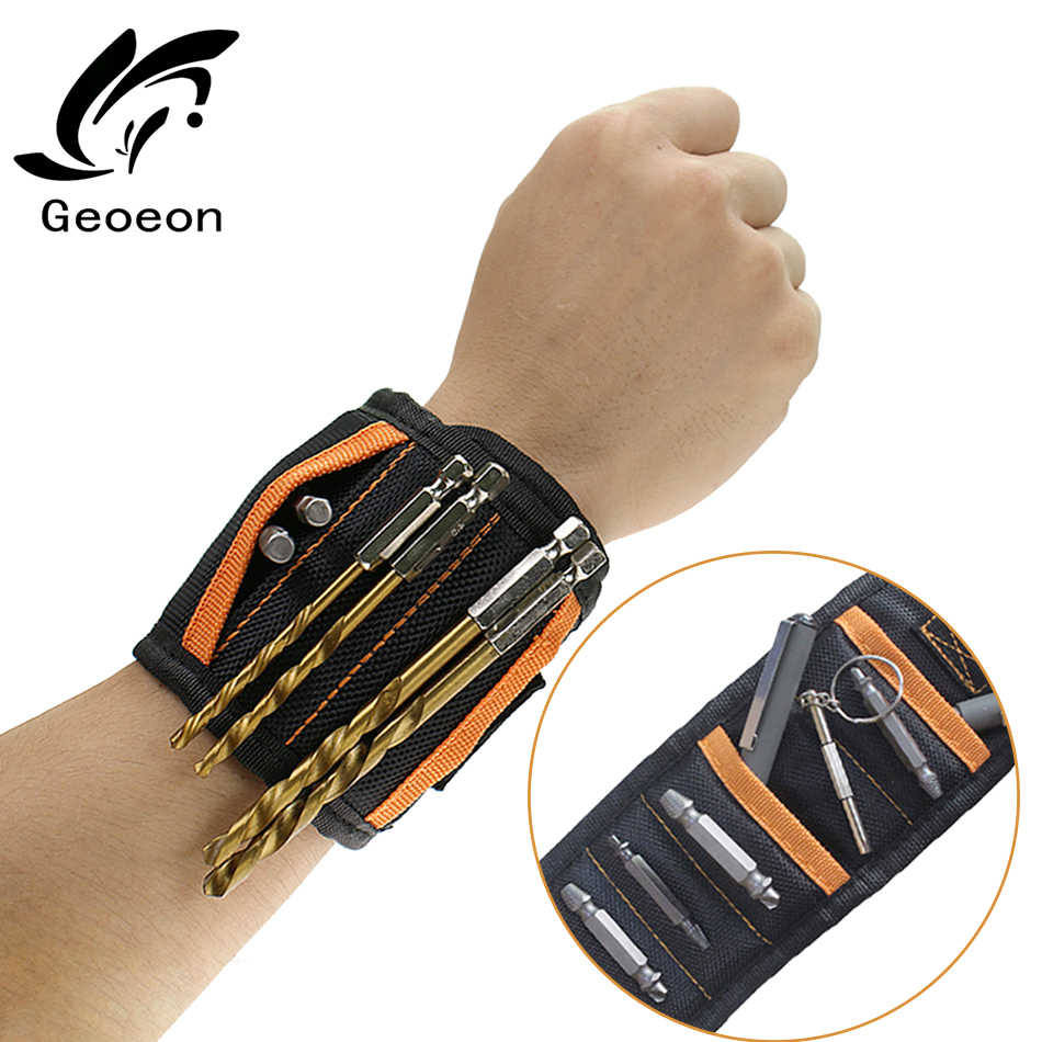 Geoeon Magnetic Wristband Tool  Bracelet Portable Tool Bag Electrician Wrist Tool for Holding Screws Nails Drill Bits A35
