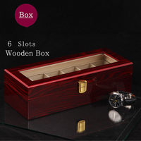 (Special Price) 6 Slots Wood Watch Storage Box Light Red MDF Watch Organizer Box Case New Women Jewelry Box Watch Display Case