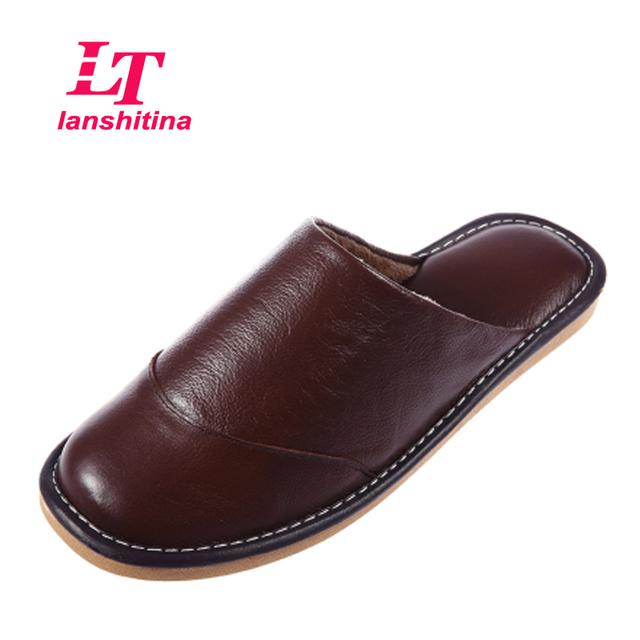 De Cuero de vaca Zapatos de Los Hombres Zapatillas de Casa de Invierno Cálido Interior Dormitorio Casa de Felpa Cómodas Zapatillas Zapato