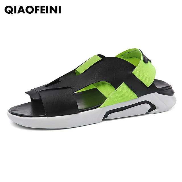 9804a79497e2 Summer sandals men outdoor beach shoes Roman sandals y3 2018 fashion shoes  men sandals Black Simple sapato masculino sneakers