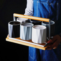 Nordic Style 6PCS Concise Ceramic Cup Set With Storage Rack 240ML Teacup Set Milk Mug Living Room Heat resistant Coffee Cup