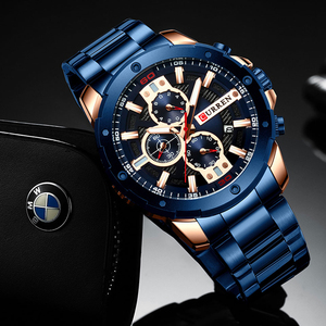 Image 5 - Sporty Watches Men Luxury Brand CURREN Fashion Quartz Watch with Stainless Steel Casual Business Wristwatch Male Clock Relojes