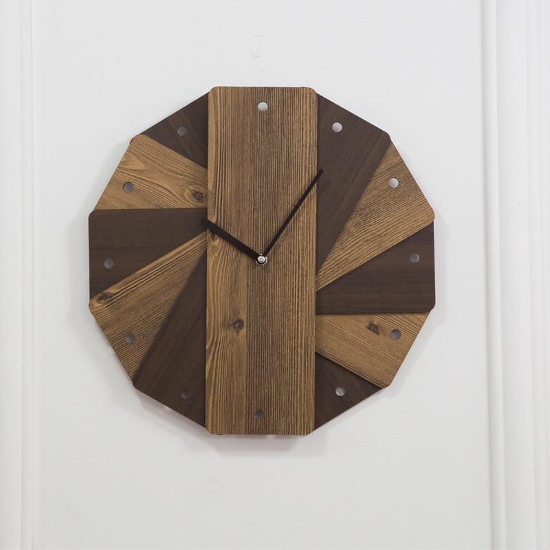 Creative European Wooden Wall Clock Simple Design Wandklok Retro Vintage Clocks Decorative Timer Kitchen Modern Design 3DBG15