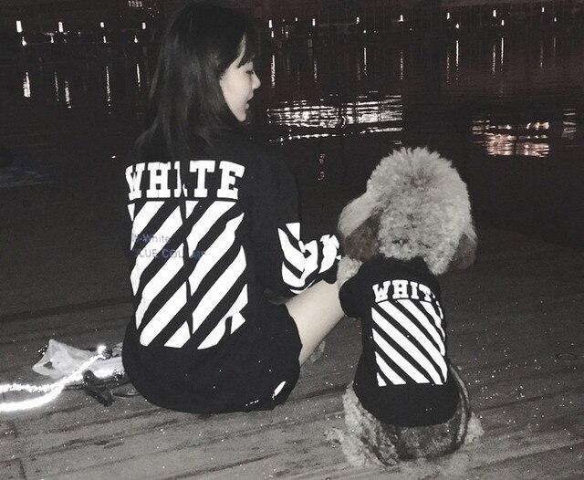 5877329e58ba Free shipping pet dog puppy cat fashion matching hoodie name brand off white  black white dog