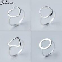 Jisensp открытый треугольный сердце круг Открытое кольцо Простые геометрические кольца для женщин Bijoux матовый круг кармы Ювелирное кольцо