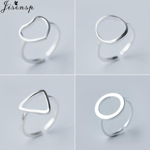 Jisensp Hollow Out Triangle Heart Round Open Ring Simple Geometric Rings for Women Bijoux Brushed Karma Circle Jewelry Ring