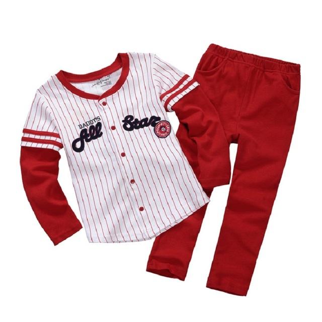 Niños Los Trajes Del Deporte de béisbol All Star Jerseys Para Niños Pantalones Largos Ropa de Los Muchachos Set Moda Trajes Bebe Mono de Algodón 100%