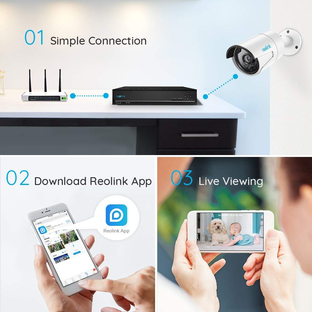 US $140 59 26% OFF|Reolink NVR 8ch for Reolink 4MP/5MP ip camera P2P 24/7  recording H 264 Video Recorder RLN8 410-in Surveillance Video Recorder from