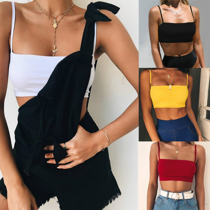 2019 Summer Women Solid Color Crop   Top   Sleeveless Camisole   Tanks     Top   Vest Fitness Sports Casual Female Shirt   Tops