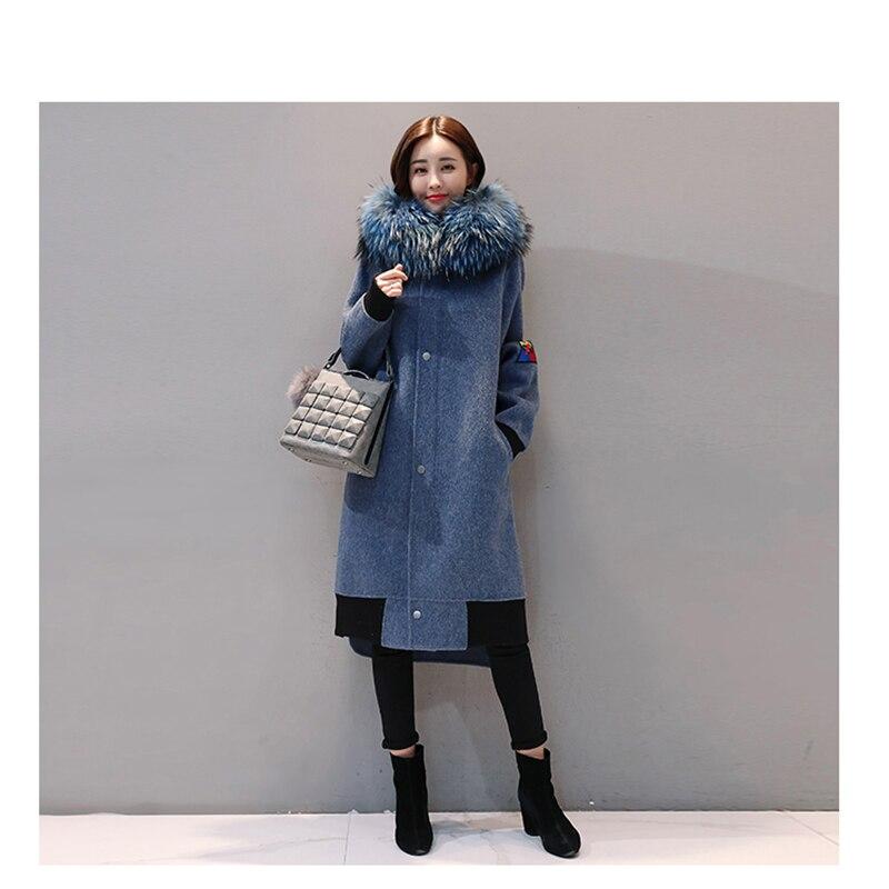 D'hiver La Veste Bleu Laine Col Manteau Blue Garder Frappé Longue De Nouveau Couture 2018 Lâche Au Genou Chaud Femelle Tempérament Femmes EzxYwS7Bq
