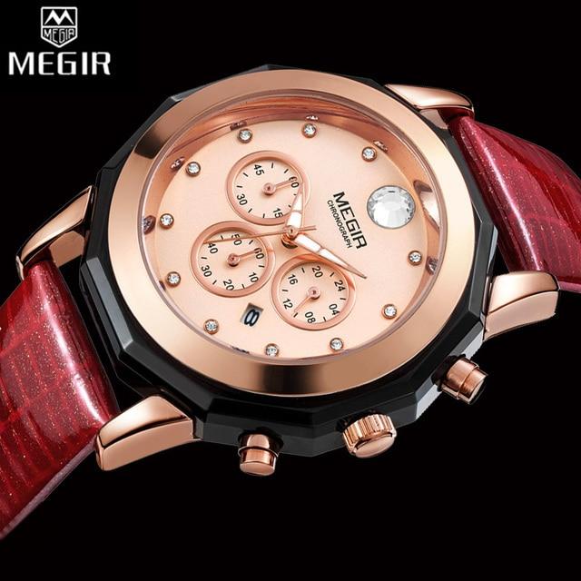 MEGIR Chronograph Women Watch Top Luxury Brand Clocks Leather Strap Quartz Date Ladies Watch Lover Gift Female Clock Box 2042