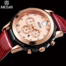 MEGIR הכרונוגרף נשים שעון יוקרה למעלה מותג שעונים עור רצועת קוורץ תאריך גבירותיי שעון מאהב מתנה נשי שעון תיבת 2042