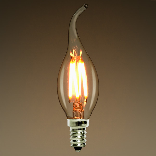 Dimmable,2W 4W,6W,LED Filament Light Bulb,Flame Tip Style,E12 E14 Base,Warm White,110V 220VAC,Retro Chandelier Lamp