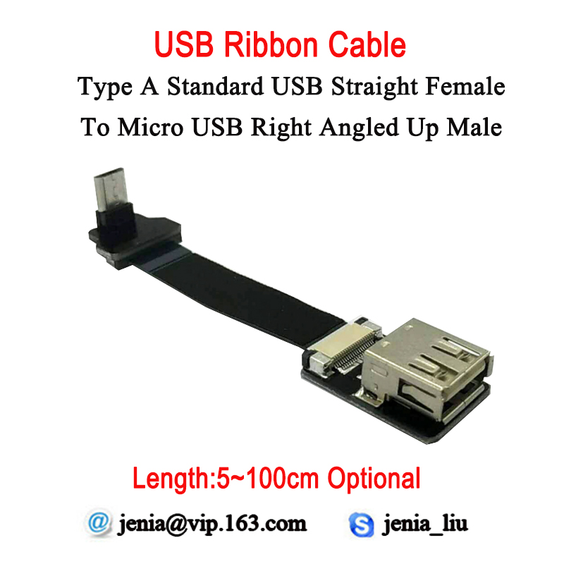 5CM- 100CM Slim Flexible USB Flat Data Cable Straight Standard Type A Female To Micro Right Angled Up 90 Degree Converter