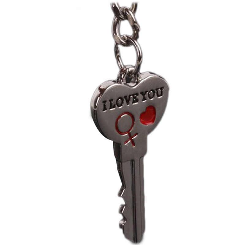 Nieuwe Paar I LOVE U Hart Sleutelhanger Ring Sleutelring Minnaar Romantische Auto Sleutelhanger Auto Styling Gratis Verzending