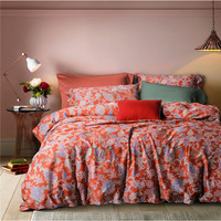 American RED Printed Duvet Cover Set 4pcs Satin Long Staple Cotton Bedding Set Bed Cover Sheets