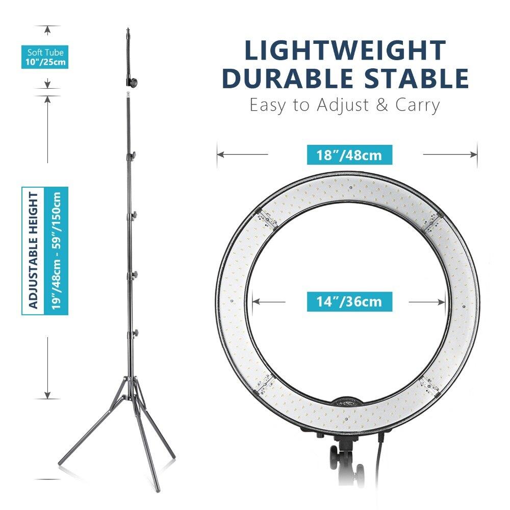 Neewer LED lumière annulaire 18 pouces diamètre extérieur avec haut/bas double chaussure chaude miroir support de smartphone support de lumière Tube souple filtre - 2