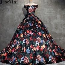 JaneVini Vintage Flowers Pattern Prom Dress Long Floral Party Wedding 2018 Off Shoulder Print Bridesmaid Dresses