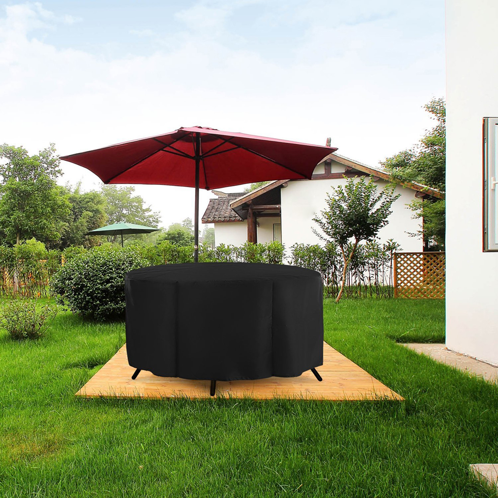 Veranda Round Patio Table & Chair Set Cover - Durable and Water Resistant Outdoor Furniture Cover, Black