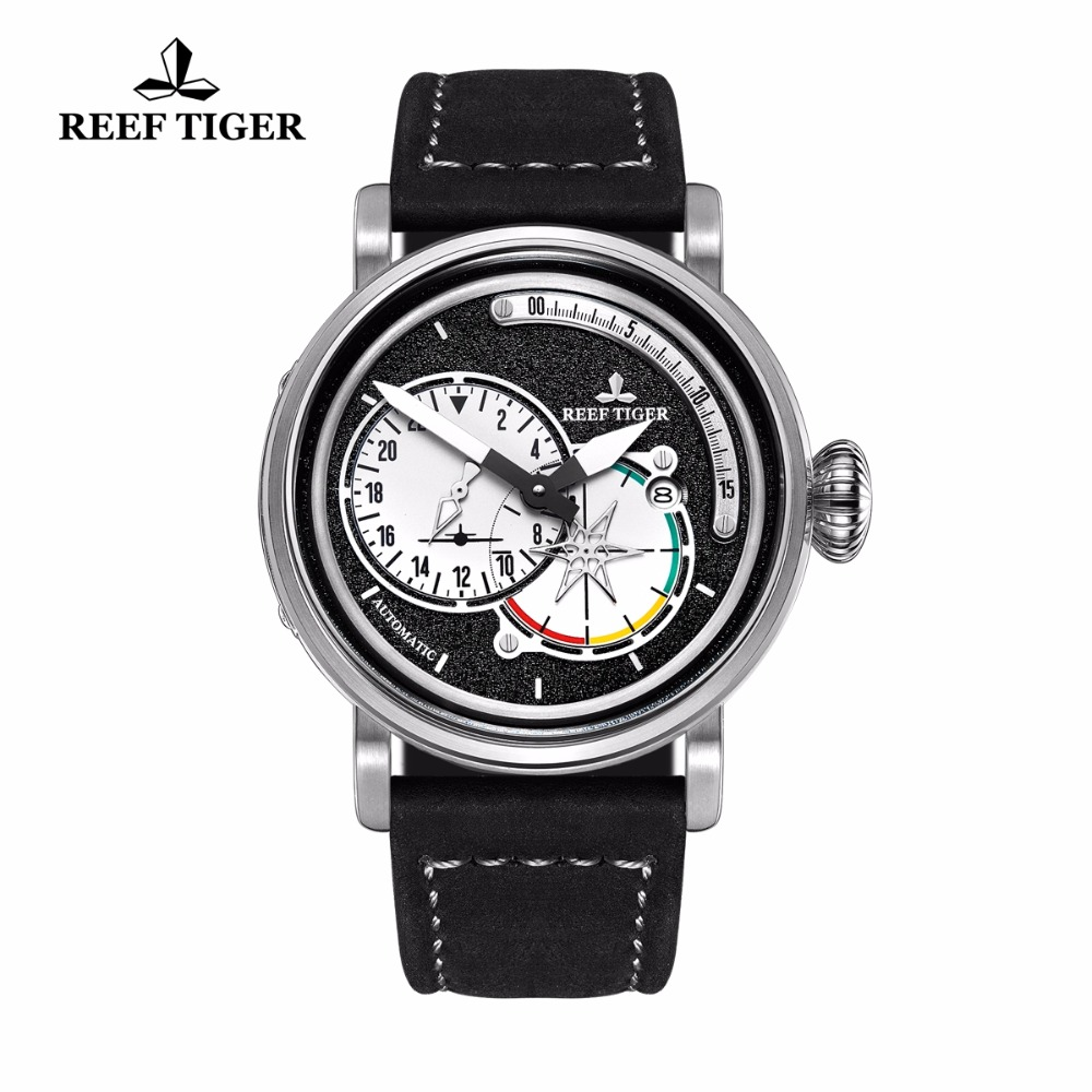 Reef Tiger/RT Steel Military Watches Men's Luminous Automatic Pilot Watches Genuine Leather Band RGA3019