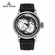 Reef Tiger/RT Steel Military Watches Men's Luminous Automatic Pilot