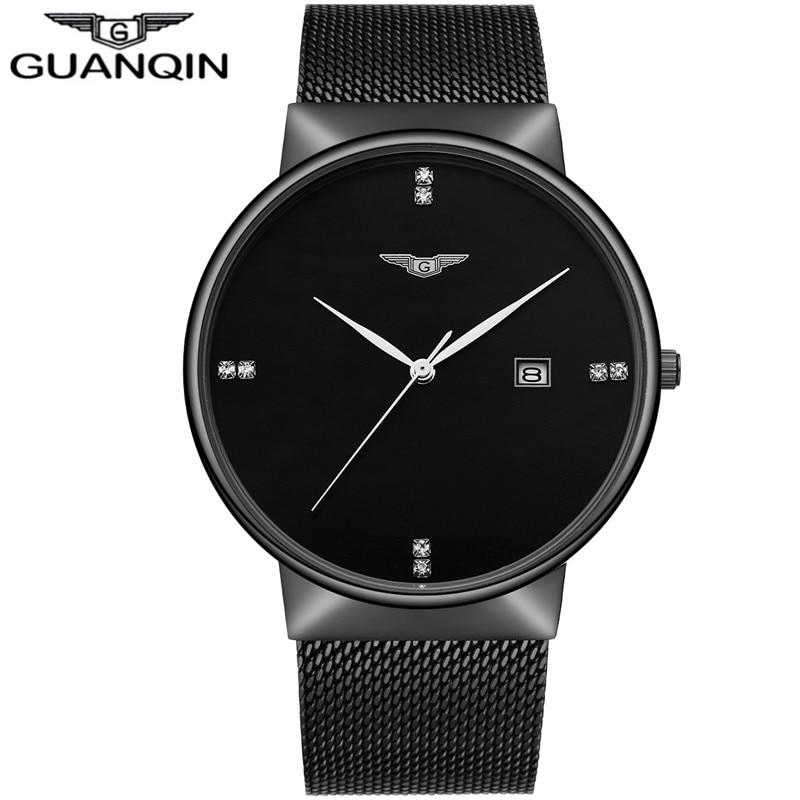 где купить GUANQIN Luxury Brand Simple Men Business Watches Men's Fashion Casual Stainless Steel Waterproof Quartz Watch relogio masculino по лучшей цене