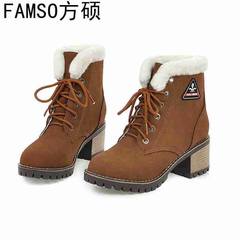 FAMSO 2019 Shoes Women Boots Lace up top Fashion Full Fur Snow Boots Shoes thick Heels Outside Ankle Boots Shoes