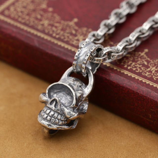 Aliexpress buy new punk real 925 silver skull pendant vintage punk real 925 silver skull pendant vintage sterling silver skeleton pendant pure silver man aloadofball Image collections