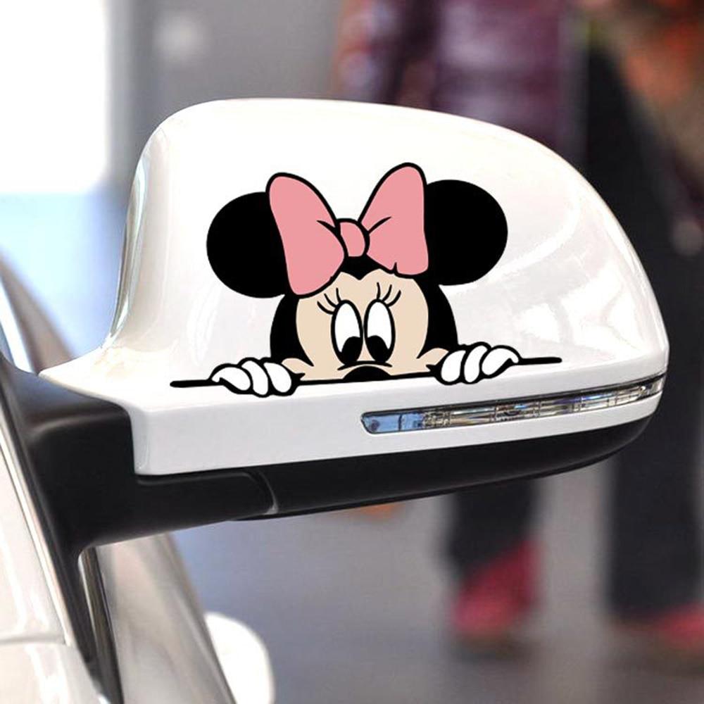 Забавная Автомобильная наклейка с милым Микки и Минни Маус, накладка в полоску, мультяшная наклейка на зеркало заднего вида для Moto Volkswagen Ford