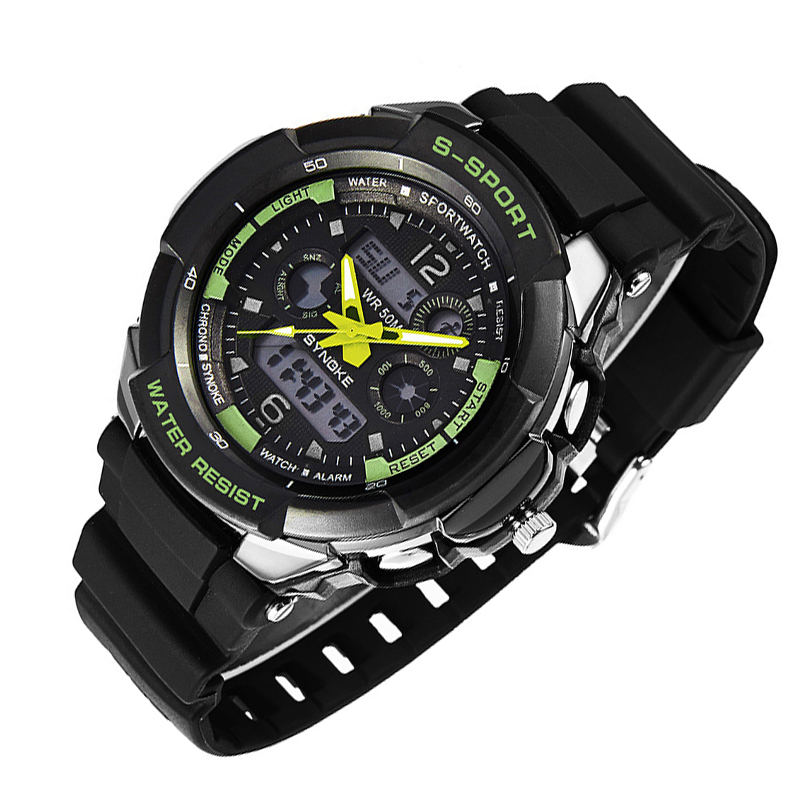 dual display repeater sport Watch Fashion mens waterproof led military wristwatch top quality man alarm army