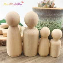 Samll rodzina 4 sztuk niedokończone drewniane lalki peg ludzie lalki peg dzieci DIY Waldorf klocki edukacyjne zabawki dla dzieci prezenty