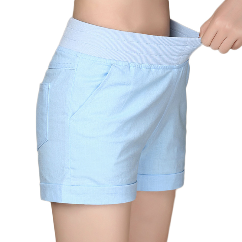 2019 European and American BF summer wind female candy color high waist linen shorts women loose elastic waist shorts plus size