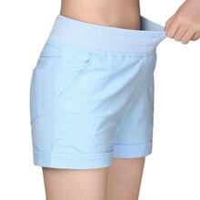 2019 Europei e Americani BF estate vento femminile di colore della caramella a vita alta pantaloncini di lino delle donne di allentato elastico in vita shorts plus formato