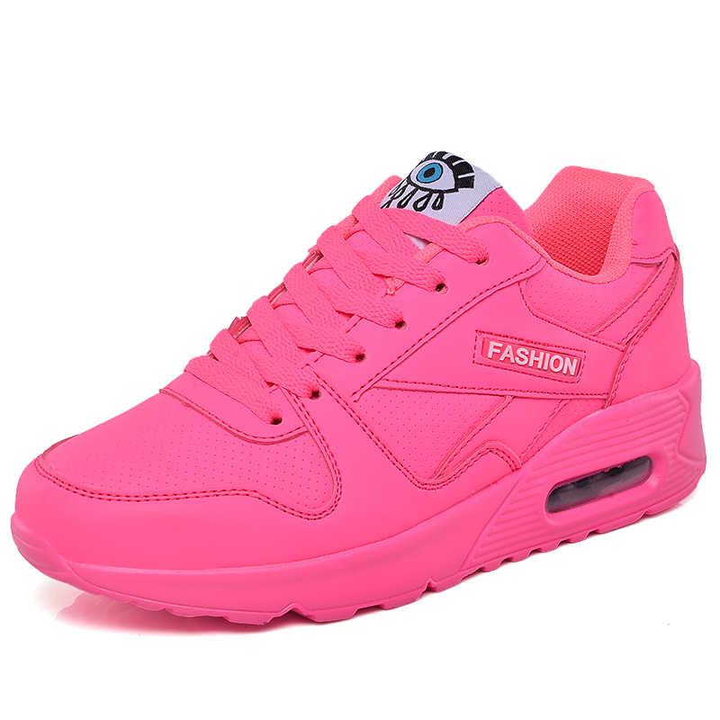2019 אביב חדש סגנון ניאון צבע אישה נעלי ריצה אוויר ריפוד חיצוני סניקרס לנשים ספורט הליכה נעלי עבור גברת