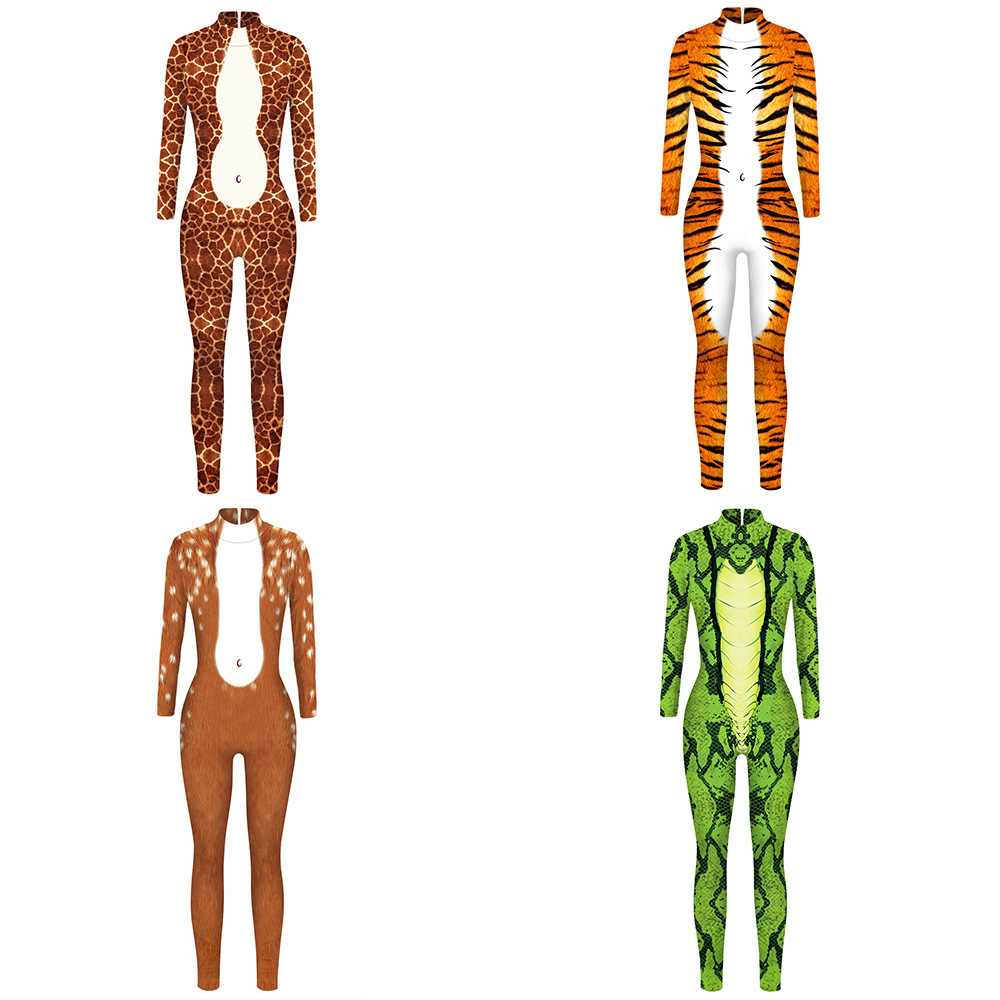 Green Snake Printing Leopard Tiger Jumpsuit Nightclub Party Halloween Bar Animal Cosplay Role Costume Dancer Show Stage Bodysuit