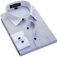 Men Shirt 2015 Striped Shirt Men Brand Business Casual Long Sleeve Turn Down Collar Striped Men