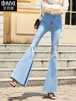 Free Shipping 2019 Fashion Long Jeans Pants For Women Flare Trousers Plus Size 24-30 Denim Light Blue Stretch Summer Thin Jeans цена 2017