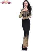 Sexy Foil Gold Print Floor Length Sheath Dress Long Sleeve Autumn Women Evening Party Dresses Bodycon Black Pencil Dress Z3D255