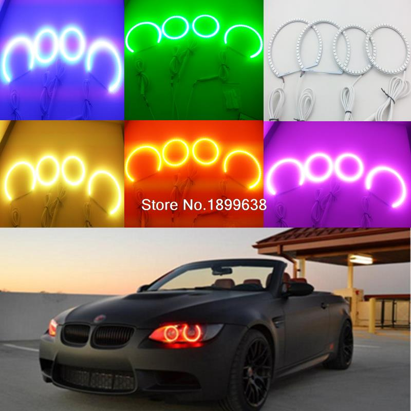 Super bright multiple color RGB Multi-Color LED Angel Eyes Kit with Remote control For BMW 3 Series E90 Non projector 2005-2008 4x xenon rgb remote multi color led angel eyes kit for bmw e90 2006 2008 e60