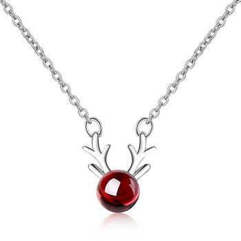 Trendy Christmas Deer ELK Animal Natural Garnet 925 Sterling Silver Lady Pendant Necklaces Jewelry Women Short Chains Gift - discount item  55% OFF Fine Jewelry